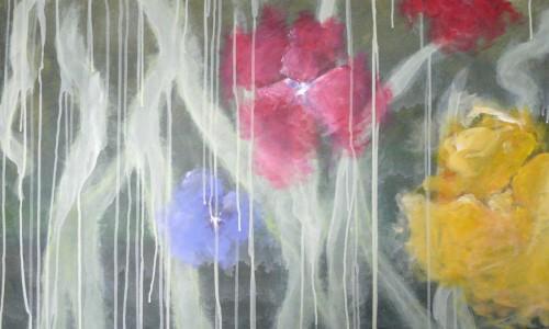 Fleurs 7 acrylique sur toile 100x100 cm