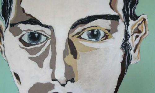 Visage 14 acrylique sur toile 100x81 cm