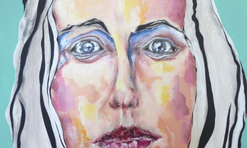Visage 2 acrylique sur toile 100x81cm
