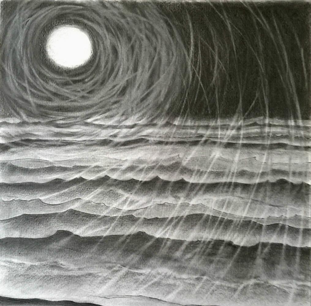 Après l'orage - mine de plomb sur papier 30 x 30 cm (encadré 37x37 cm)