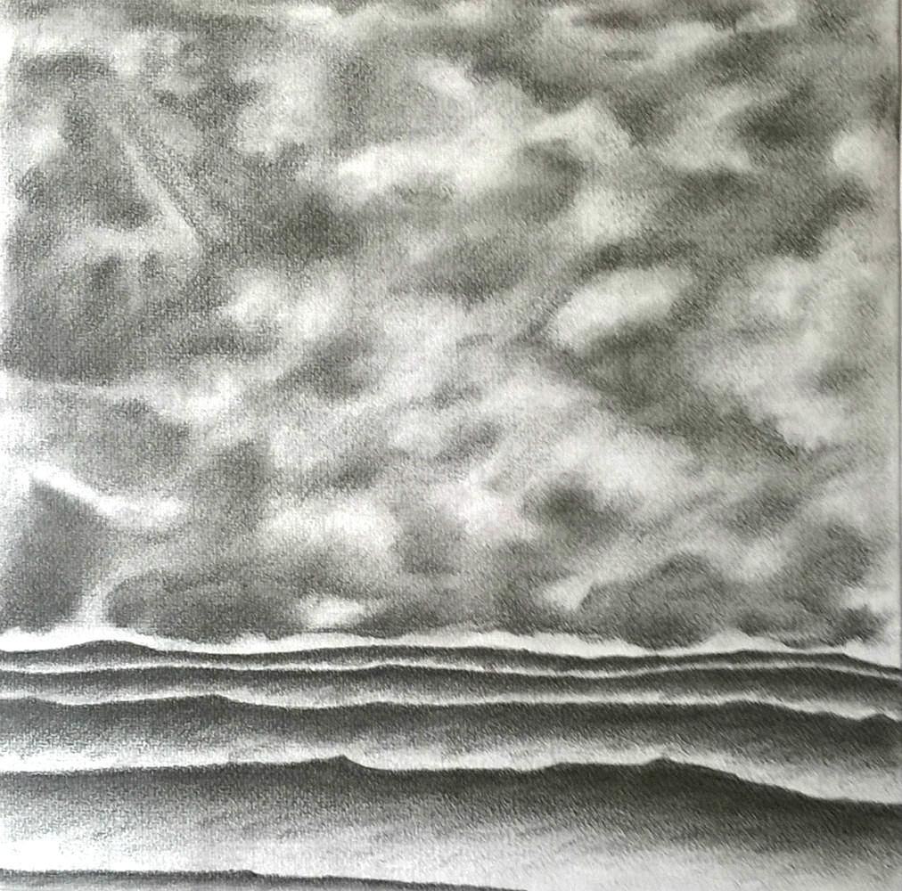 Avant l'orage 2 - mine de plomb sur papier 30 x 30 cm (encadré 37x37 cm)
