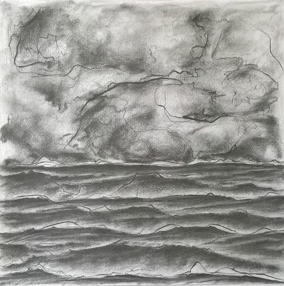 L'orage - mine de plomb sur papier 30 x 30 cm (encadré 37x37 cm)
