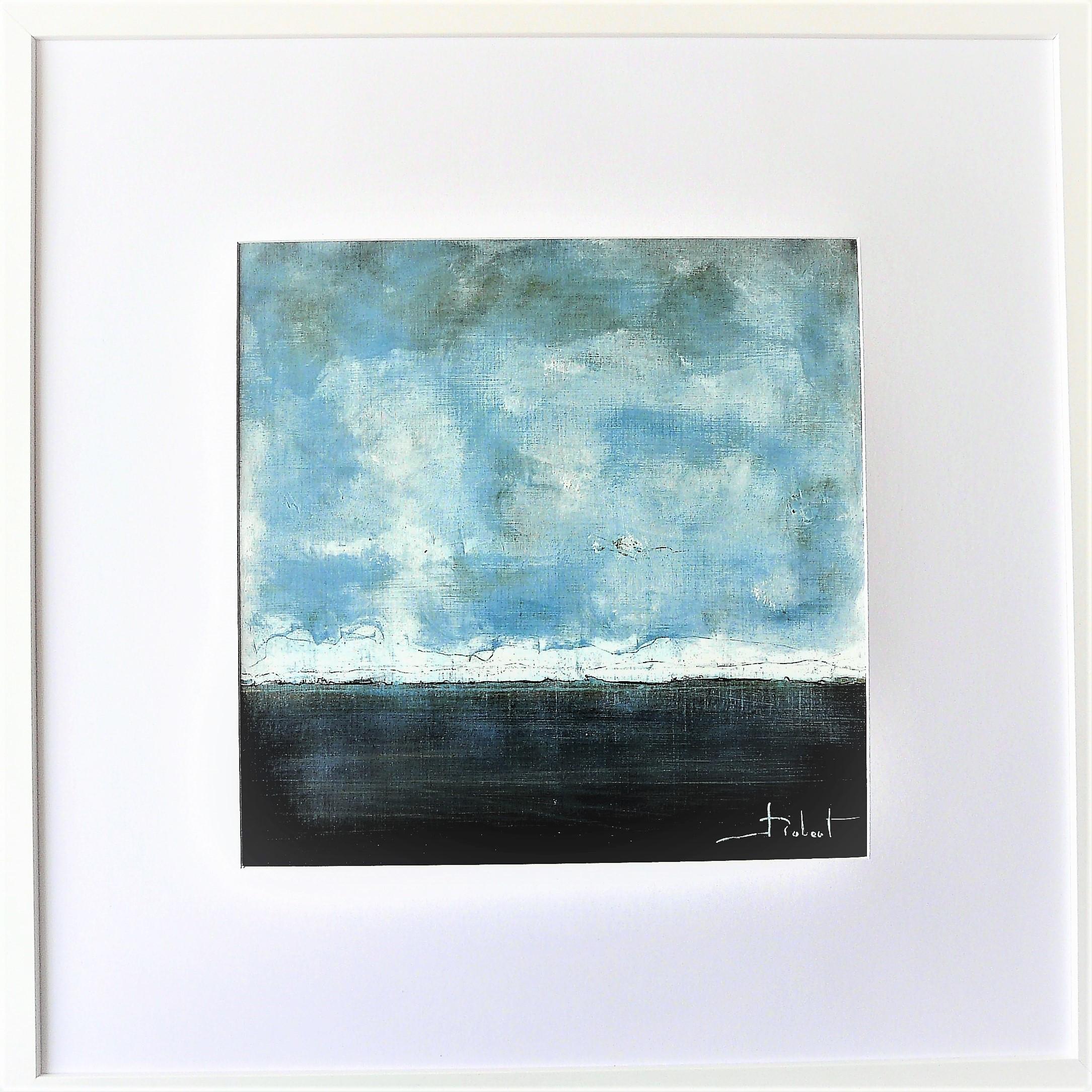 Océan mer pm num 1 acrylique sur papier toilé 30x30 et 50x50 cm avec cadre