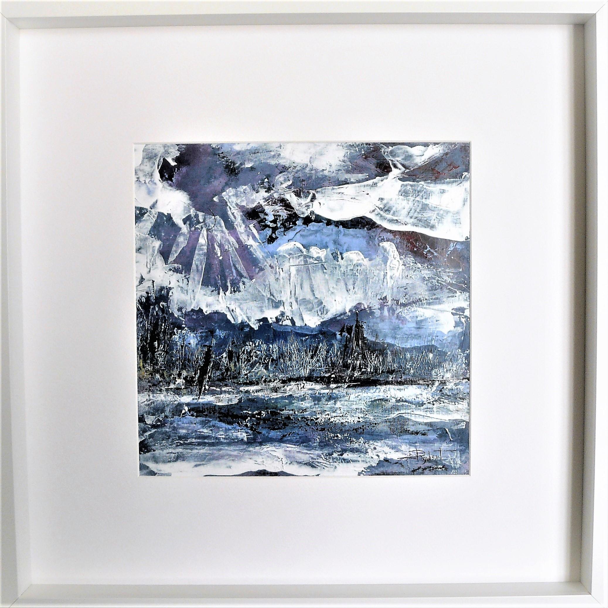 Océan mer pm num 10 acrylique sur papier toilé 30x30 et 50x50 cm avec cadre