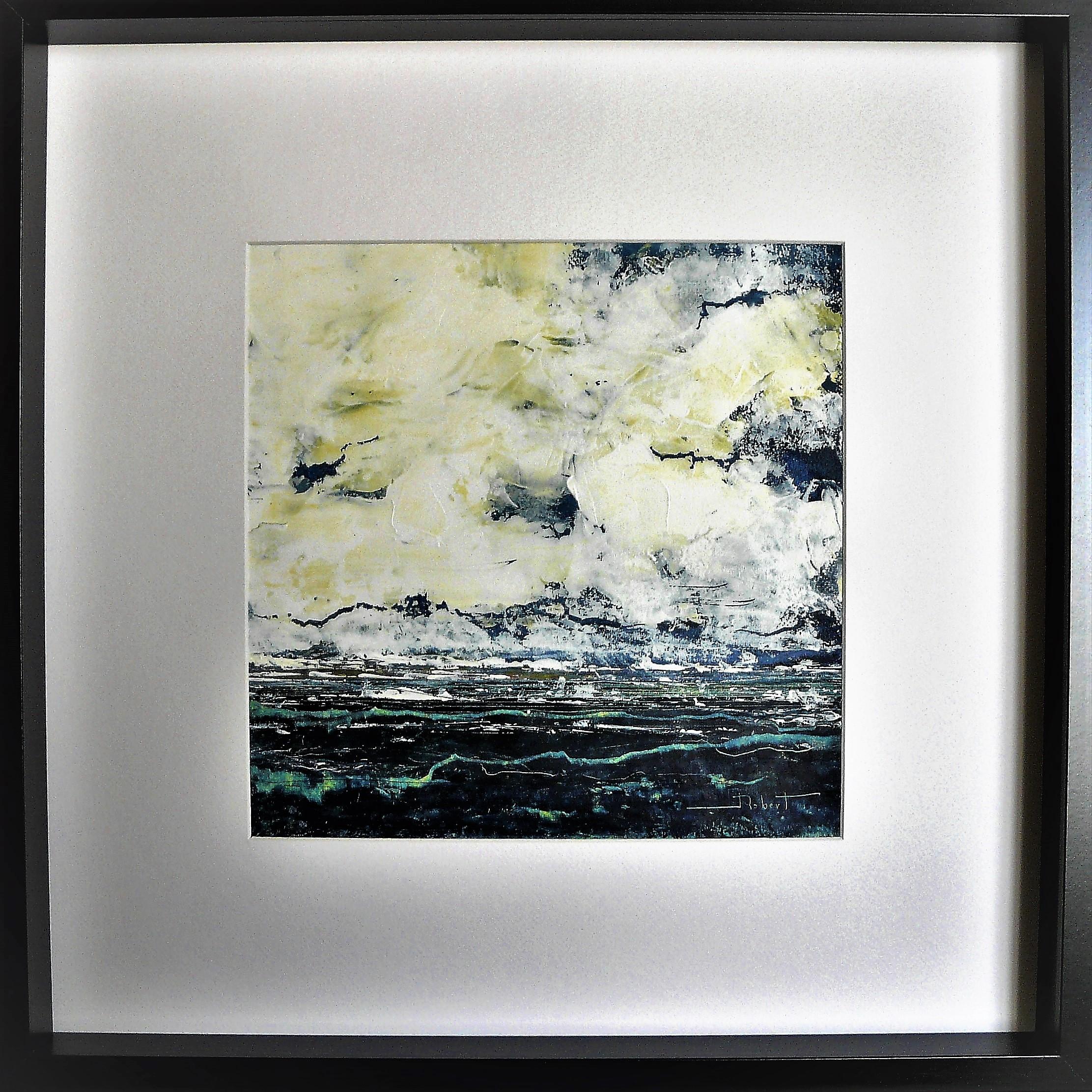 Océan mer pm num 11 acrylique sur papier toilé 30x30 et 50x50 cm avec cadre