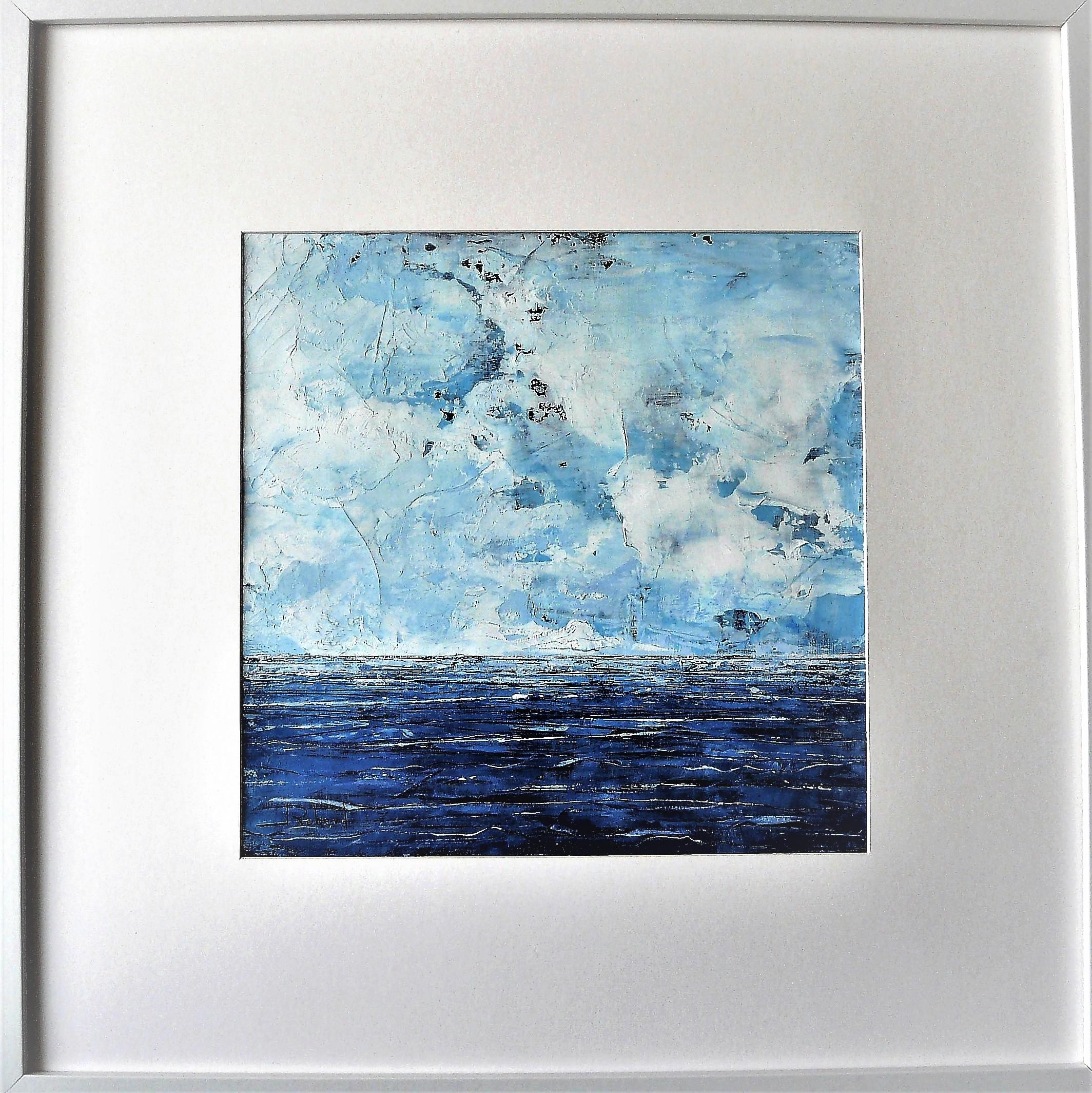 Océan mer pm num 2 acrylique sur papier toilé 30x30 eet 50x50 cm avec cadre