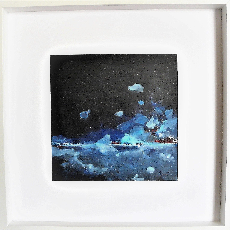 Océan mer pm num 7 acrylique sur papier toilé 30x30 et 50x50 cm avec cadre